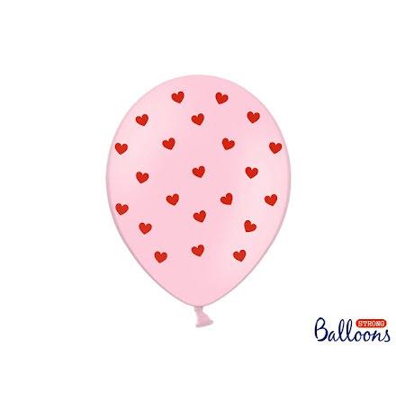 Ballonger - Pastellrosa med rosa hjärtan