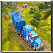 Off-Road USA Trucker Muddy Driving: Heavy Cargo