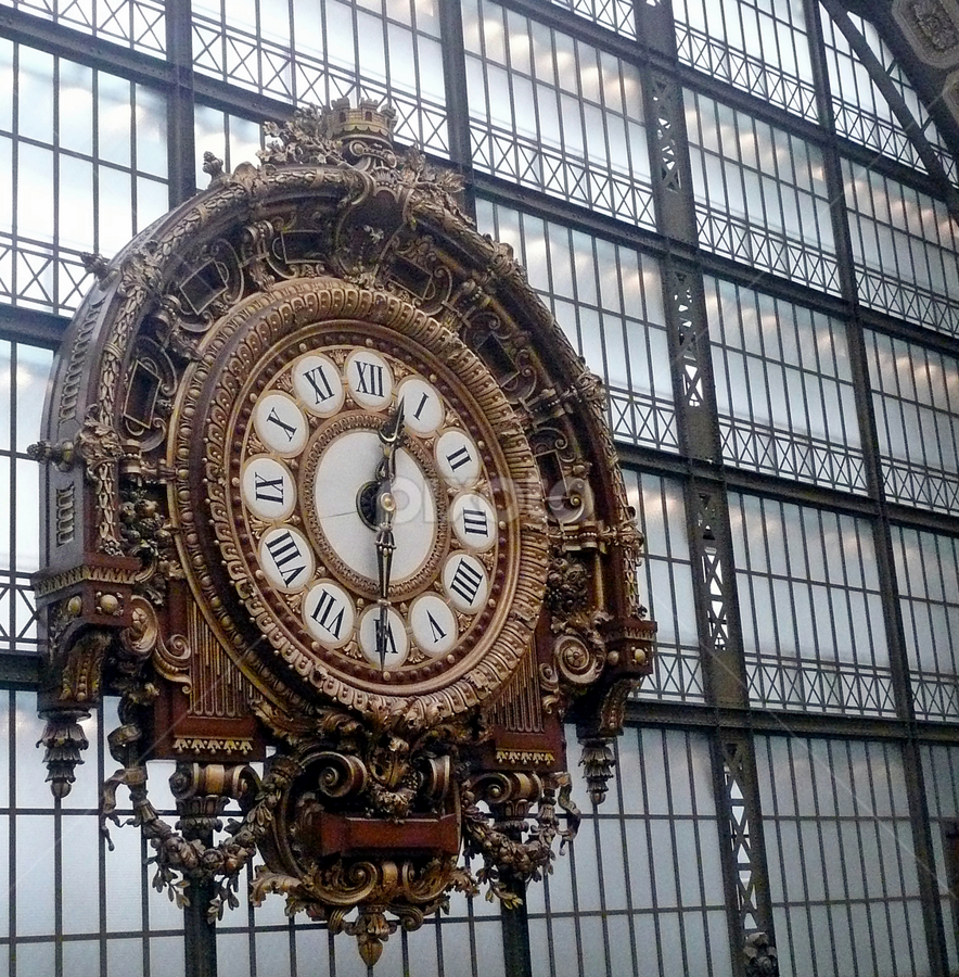 Vintage Railway Clock by Tony Huffaker - Artistic Objects Other Objects ( paris, railway, clock, france, musée d'orsay,  )