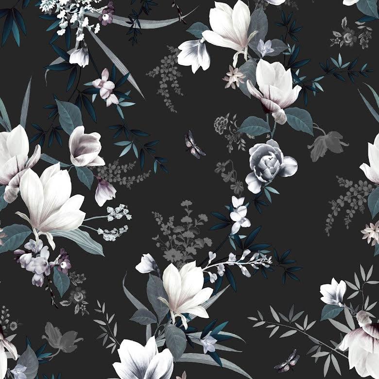Muriva Lipsy Lotus Tapet med blommor 144053 Svart