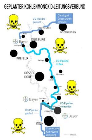 Landkarte mit der geplanten Giftgasleitung.