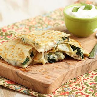 Spinach Artichoke and Chicken Quesadilla.