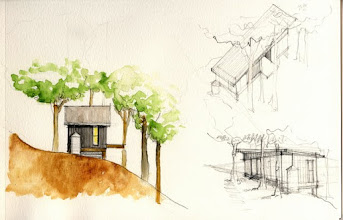 Photo: More sketches, introducing the rain cistern and the cantilevered porch on the south side, overlooking the forest. We face south for passive solar  and views of the Black Mountains.