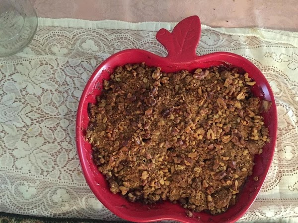 Either way, take handfuls of the streusel topping and sprinkle over the apples. Put...