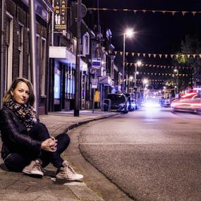 At night  by Roman Kolodziej - People Street & Candids ( shades, woman, street, night, colours,  )