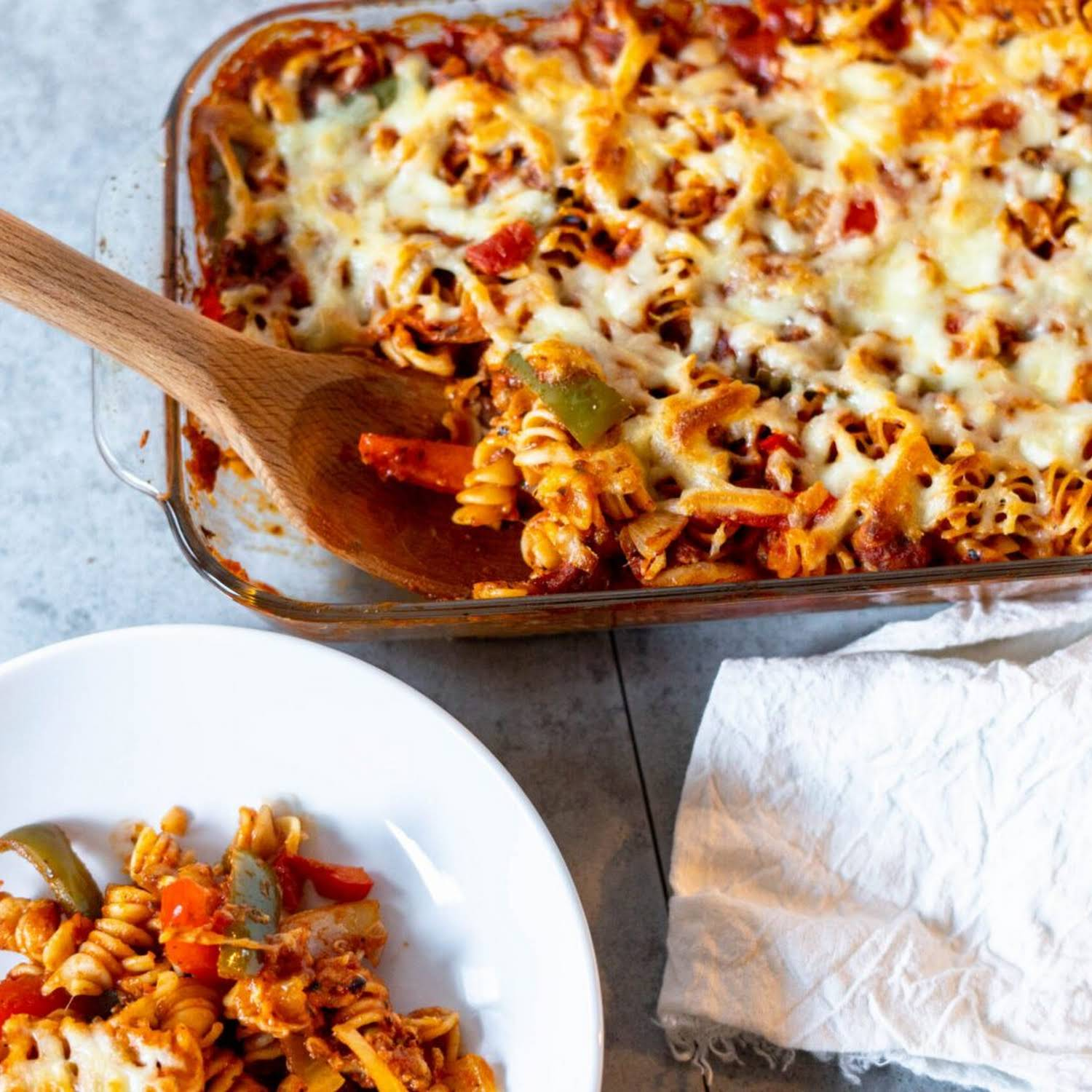Sausage Pasta Bake  taking into account bearing in mind Peppers and Onions