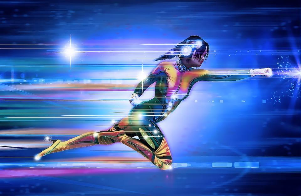 Superhero, Girl, Speed, Runner, Running, Lights, Space