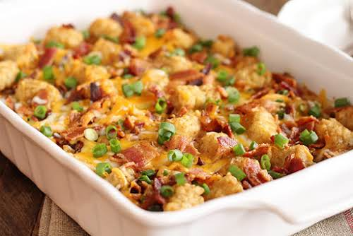 "Bacon and Eggs Tater Tot Casserole""My Bacon and Eggs Tater Tot Casserole..."