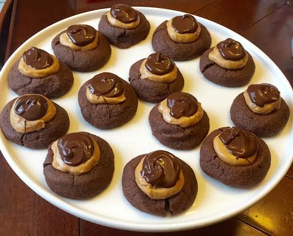 Peanut Butter & Chocolate Thumb Print Cookies