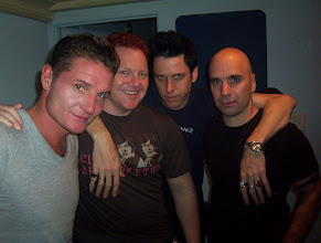 Photo: Andy and Michael from Pure Bunk (centre) with Douglas (left) and Bon (right) from Nitzer Ebb.
