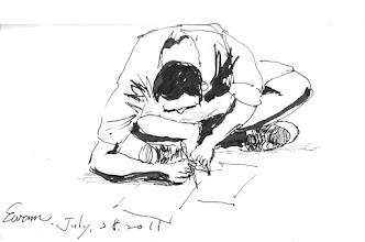 Photo: 桃少輔成長營之自由書寫(一)2011.07.28鋼筆畫 十五分鐘自由書寫時間,大家寫不停,這裡的孩子和其他的孩子一樣是有夢的呀!