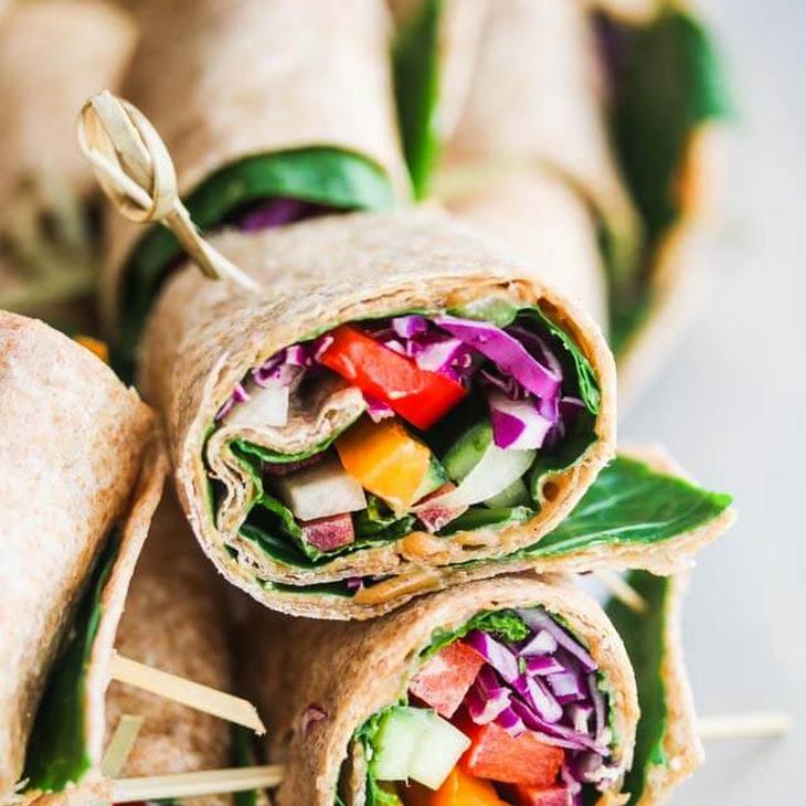 Rainbow Vegetable Wraps with Peanut Sauce Recipe
