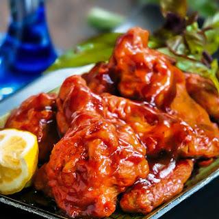 Chicken Wings in Honey-Sriracha Sauce.