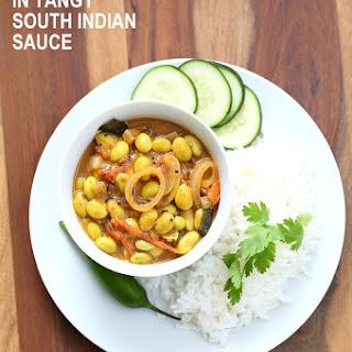 Edamame in Tangy South Indian Curry - Edamame Kara Kuzambu.