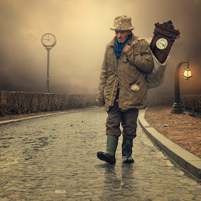 The mechanic by Caras Ionut - Digital Art People ( tutorials, walking, clock, bag, ground, stone, relection, pocket, manipulkation, pole, cold, bush, light, man, rain, photoshop )
