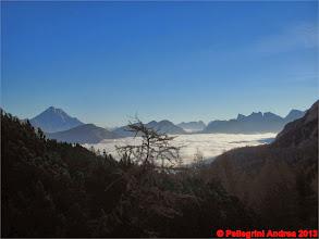 Photo: IMG_4145 verso l attacco della via, il mare di nubi sulla valle di Zoldo