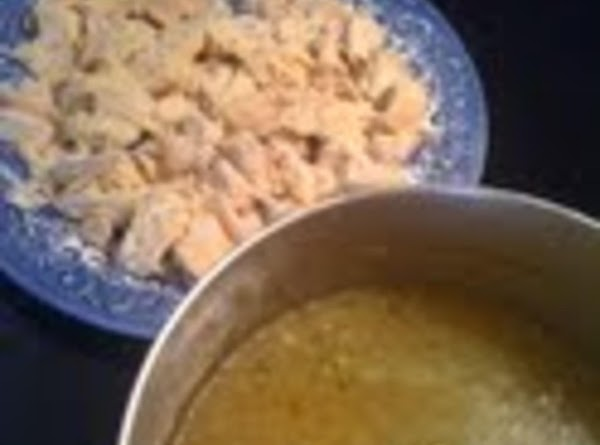 "Chop chicken into 1"" cubes and add 1/4 c. of the water to the..."