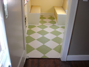 Photo: diagonal install v.c.t with green and white sold at Home depot by floorswedo.com
