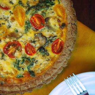Kale, Mushroom and Blue Cheese Quiche