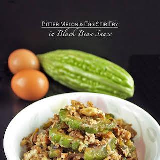 Bitter Melon and Egg Stir Fry in Black Bean Sauce.