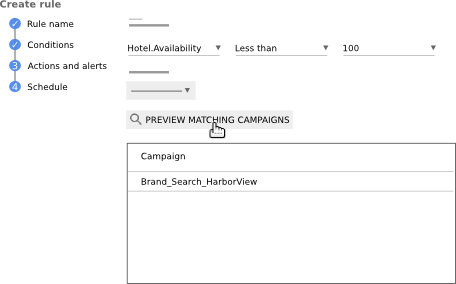 "Click ""Preview matching campaigns"""