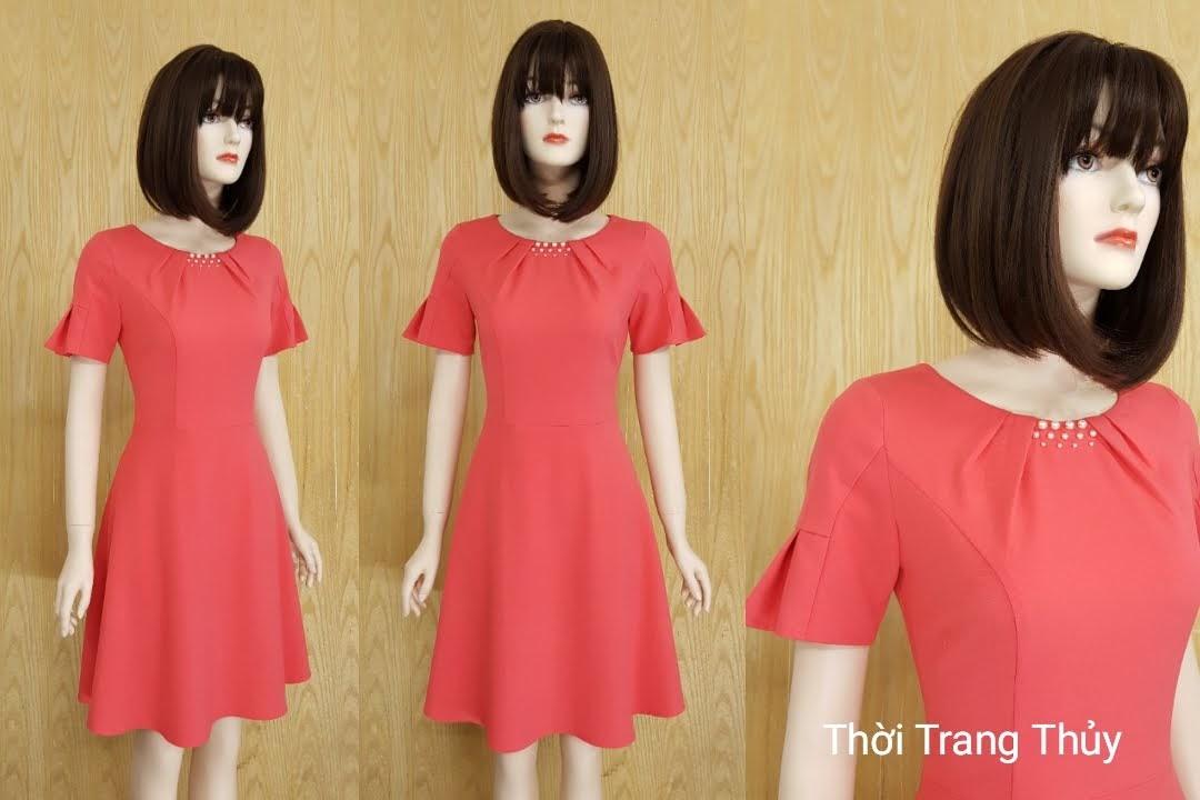 Váy xòe cổ xếp ly đính hạt S001 - Bán sẵn