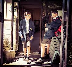 Photo: Ethan walks out of school for the day...