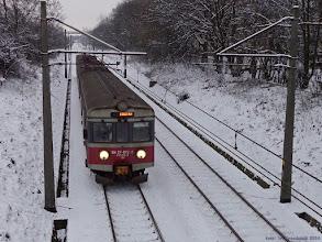 """Photo: EN57-872, IR """"Drwęca"""" Olsztyn Główny - Poznań Główny {szlak Toruń Miasto - Toruń Wschodni (""""wąwóz kolejowy""""); 2014-01-16}"""
