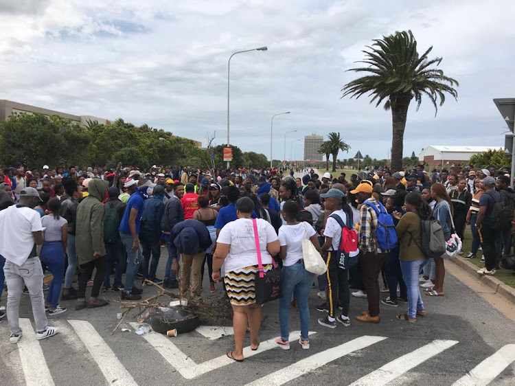 Students are protesting outside Nelson Mandela University