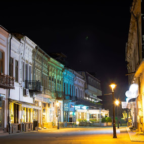 old center by Raluca Bălan - City,  Street & Park  Night ( lights, colors, night, yellow, photography )