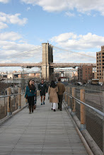 Photo: Walking over the Squibb Park Bridge.