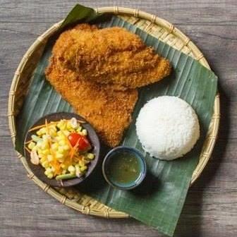 Pla Tod w/side Corn Salad & Jasmine rice