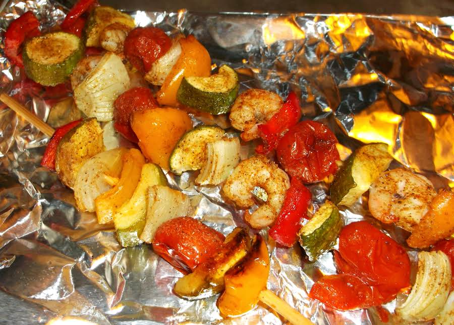 Shrimp Amp Veggie Kabobs Grilledovenroasted Recipe Just A