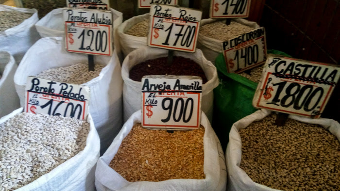 pulses on display in a local feria market in santiago chile
