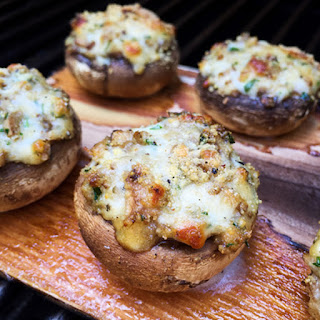 Cheesy Stuffed Mushrooms Grilled on a Cedar Plank
