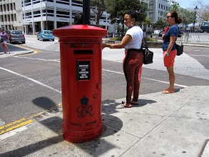 """Photo: Typical old-fashioned British pillar-boxes (for post) are still found in Hamilton. (Bermuda is still one of the 14 old colonies that Great Britain still possess, more properly now named """"Over-seas Territory"""". Pitcairn Islands is another one, but Pitcairn and Bermuda are on opposite ends of the Prosperity Scale.)"""
