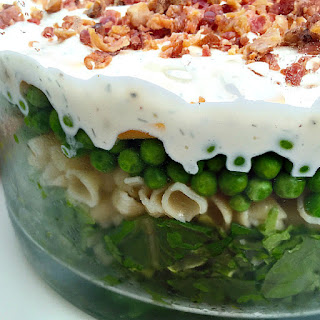 Layered Bacon Pea Pasta Salad