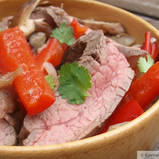 Simple Five Spice Flank Steak with Shiitakes, Peppers, Onions