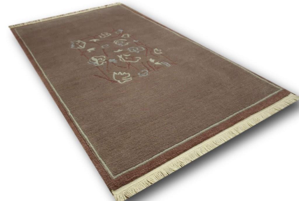 dywan nepal 100% wełna 90x160cm fioletowy ekskluzywny