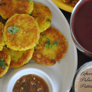 Leftover Vegetable Pulao and Cheese Patties.