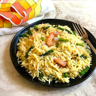 Orzo Risotto with Asparagus and Shrimp.