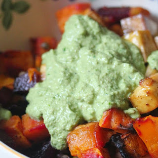 Beets and Butternut Squash Bowl With Cheesy Basil Pesto [Vegan]