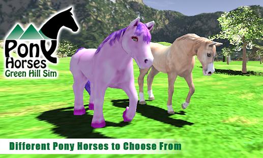 Pony-Horses-Green-Hill-Sim-3D 3