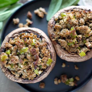 SAUSAGE STUFFED PORTOBELLO MUSHROOMS.