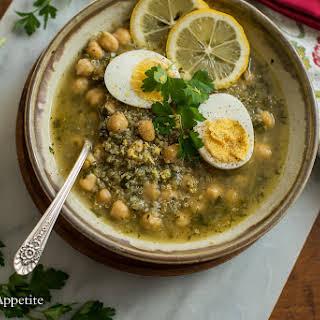Chickpea Quinoa Lemon Parsley Soup.