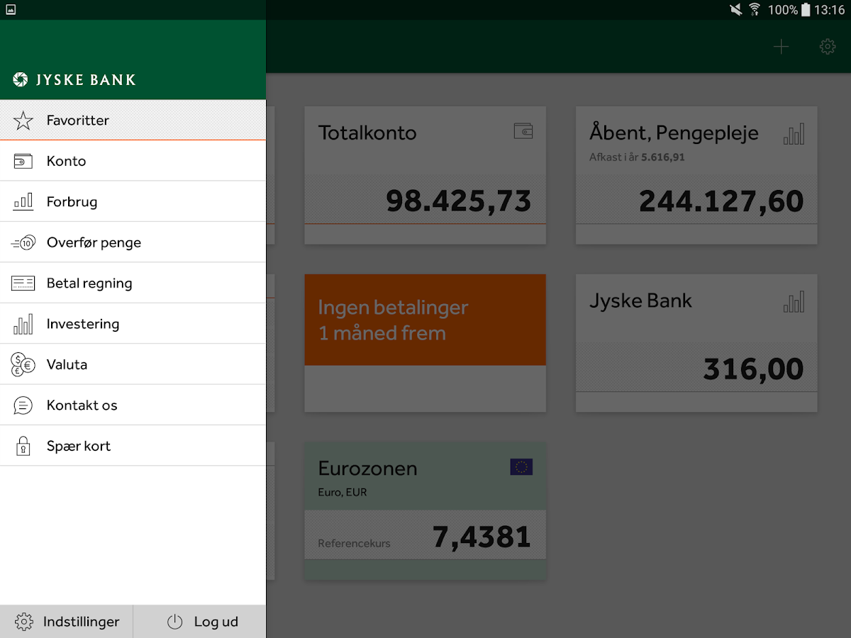Jyske Mobilbank- screenshot