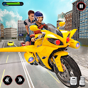 Real Flying Bike Taxi Simulator: Bike Driving Game icon