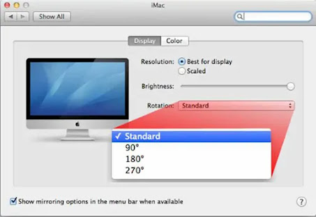Change desktop orientation in Mac