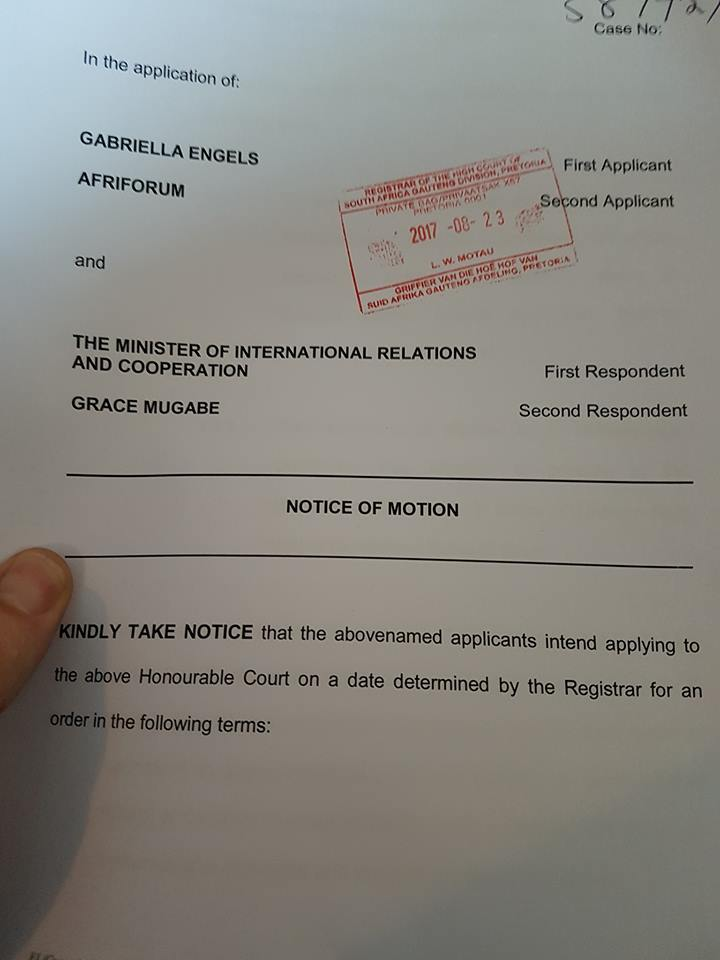 The court application by AfriForum and Gabriella Engels