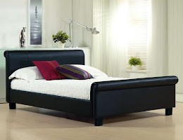 Modern Faux Leather Sleigh Bed in Black